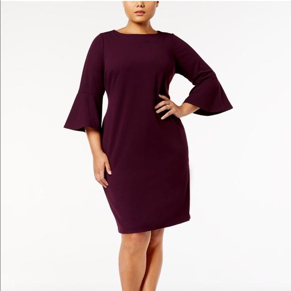 271b2d78c65e8 Calvin Klein Dresses   Skirts - Calvin Klein Plus Size Bell-Sleeve Sheath  Dress